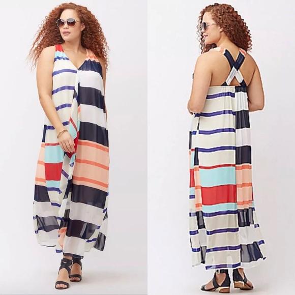 d57457fef6b Lane Bryant cascade maxi dress 28 striped